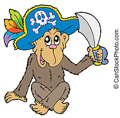 Pirate monkey on white background - vector illustration.