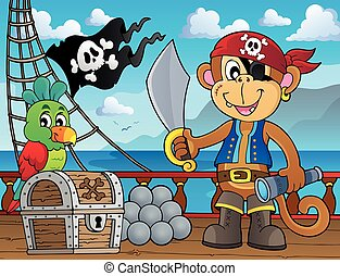 Pirate monkey topic 2 - Pirate monkey topic illustration.