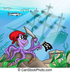 Pirate octopus near ship underwater - color illustration.