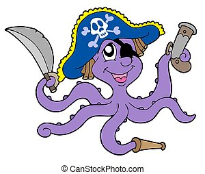 Pirate octopus with sabre - isolated illustration.