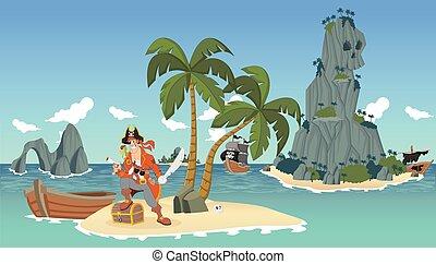 pirate on a tropical beach