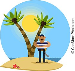 Pirate on a tropical beach with palm trees, vector illustration