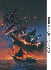 pirate on boat with treasure looking at sinking ship - the...