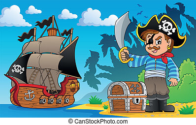 Pirate on coast theme 1 - eps10 vector illustration.