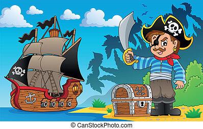 Pirate on coast theme 1 - eps10 vector illustration.