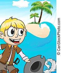 Pirate on desert island