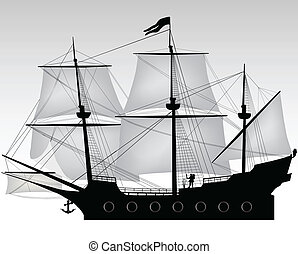pirate on his boat illustration