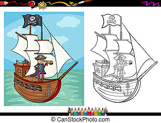 pirate on ship cartoon coloring book