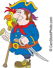 Pirate - One-legged pirate with a map, saber, pistol and ...