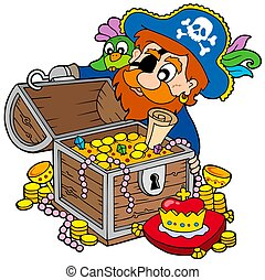 Pirate opening treasure chest - isolated illustration.