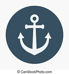 Pirate or sea icon, anchor. Flat design style modern vector...