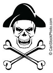 pirate, os, crâne