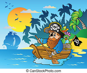 Pirate paddling in boat near island - vector illustration.