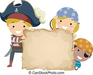 Illustration of Little Kids Dressed in Pirate Costumes Holding a Papyrus