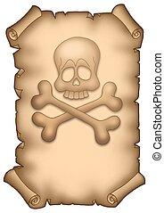 Pirate parchment A4 - color illustration.