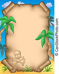 Pirate parchment with palms - color illustration.