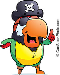 Pirate Parrot - A happy cartoon pirate parrot with an idea.