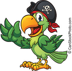 Pirate parrot - Cartoon pirate parrot. Vector clip art...