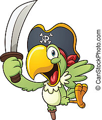 Pirate parrot - Cute cartoon parrot. Vector clip art...