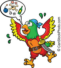 pirate parrot - funny pirate-parrot with a speech bubble and...