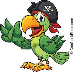 Pirate parrot - Cartoon pirate parrot. Vector clip art...
