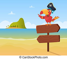 Pirate parrot. Funny colored bird arara sitting on wood sign direction vector background illustration in cartoon style