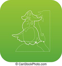 Pirate parrot icon green vector