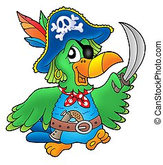 Pirate parrot on white background - color illustration.