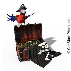 Pirate Parrot with Treasure Chest