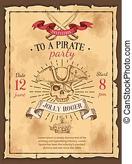 Pirate Party Drawn Poster