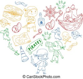 Pirate party for little children. Kindergarten background. Sea and ocean adventures. Ship and pirates, treasure islands.