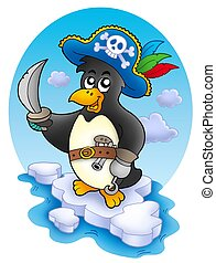 Pirate penguin on iceberg - color illustration.