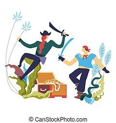 Pirate people, robbers men fighting on sharp swords vector....