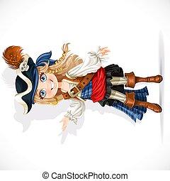 pirate, peu, blanc, girl, isolé, fond, mignon