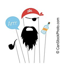 Pirate photo booth props and scrapbooking vector set -...