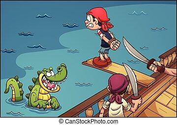 Pirate plank - Cartoon pirate kid walking the plank. Vector...