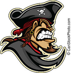 Pirate, Raider, or Buccaneer Head with Hat and Goatee Beard Graphic Mascot Vector Image