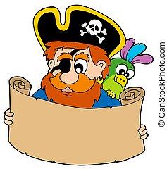 Pirate reading treasure map - isolated illustration.