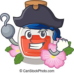Pirate rosehip seed oil in cartoon bottle vector ...
