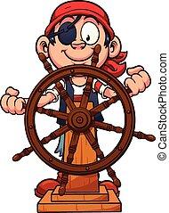 Pirate rudder - Pirate boy at the rudder. Vector clip art...