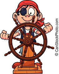 Pirate rudder - Pirate boy at the rudder. Vector clip art ...
