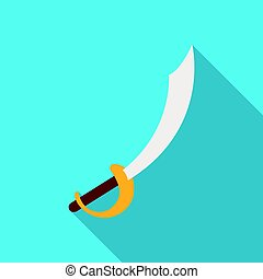 Pirate sabre icon in flat style isolated on white background. Pirates symbol stock vector illustration.