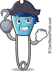 Pirate safety pin character cartoon