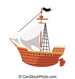 Pirate sailboat or sea filibusters ship icon, flat vector illustration isolated.