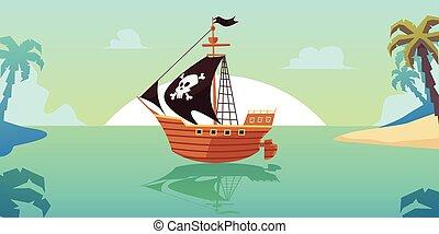 Pirate sailboat ship in tropical seascape, flat cartoon vector illustration.