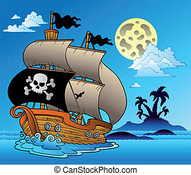 Pirate sailboat with island silhouette - vector illustration...