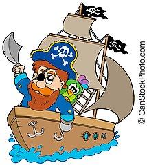 Pirate sailing on ship - isolated illustration.