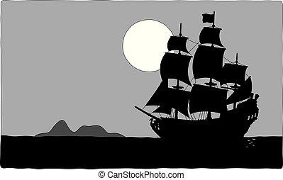 Pirate sailing ship near a treasure island