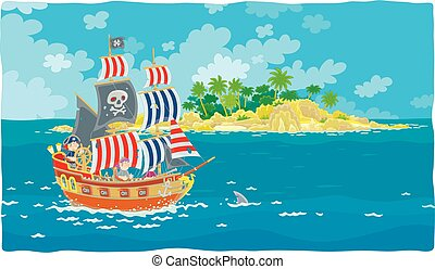 Pirate sailing ship with a flag of Jolly Roger