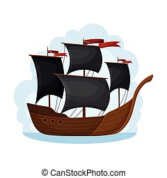 Pirate Sailing Ship with Square Rigged Masts Navigating Upon Water Vector Illustration. Corvette or Frigate with Wooden Deck for Conducting Piracy and Coastal Robbery Concept
